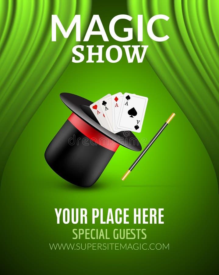 Magicznego przedstawienia projekta plakatowy szablon Magiczny przedstawienie ulotki projekt z magicznym kapeluszem i zasłonami royalty ilustracja