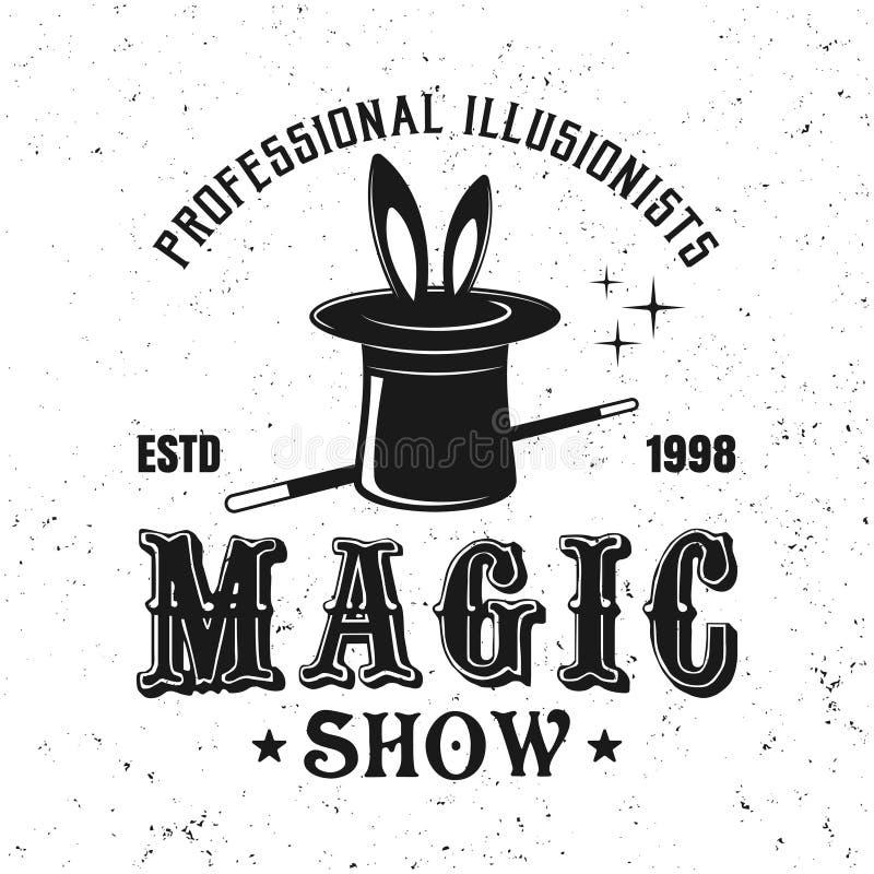 Magicznego złudzenia przedstawienia rocznika wektorowy cyrkowy emblemat ilustracja wektor
