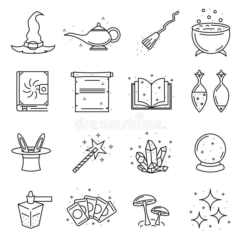 Magicznego znaka czerni ikony Cienki Kreskowy set wektor ilustracja wektor