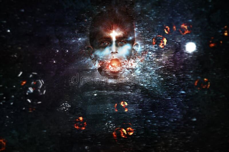 Magicznej Marzycielskiej zmrok władz złej chłopiec magicznego czary rozkrzyczany galaxy planetuje wszechrzecze gwiazdy fotografia royalty free
