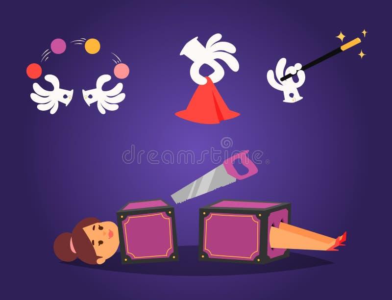 Magicznej skutek sztuczki symbolu magika wektorowi narzędzia i niespodzianki rozrywki magicznej fantazi tajemnicy karnawałowa kre ilustracja wektor