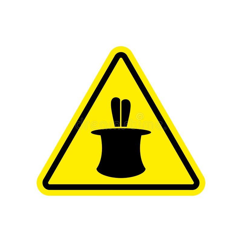 Magicznej sztuczki znaka ostrzegawczego kolor żółty złudzenia zagrożenia uwagi symbol ilustracji