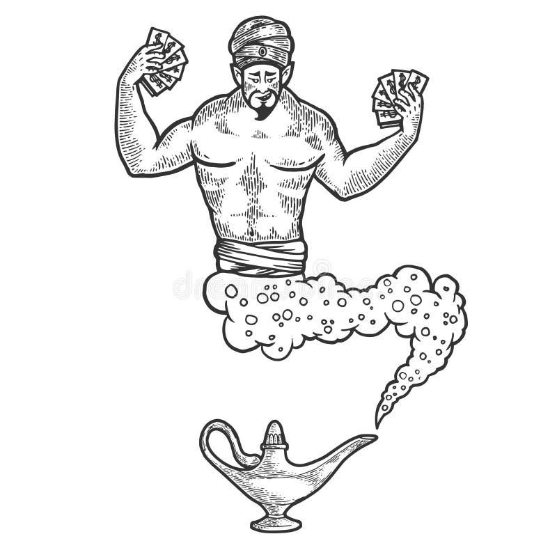 Magiczni krasnoludkowie z pieniądze nakreślenia rytownictwa wektorem ilustracja wektor