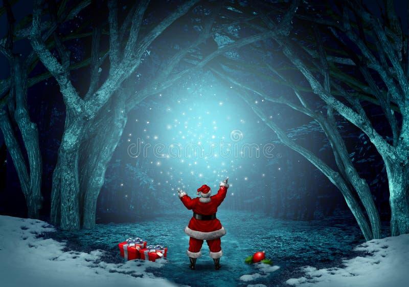 Magiczny Święty Mikołaj tło ilustracja wektor