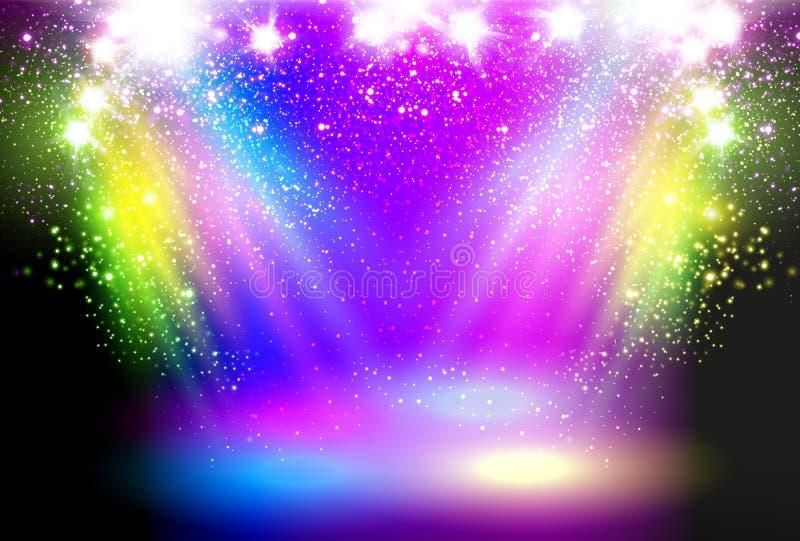 Magiczny światła reflektorów pojęcie royalty ilustracja