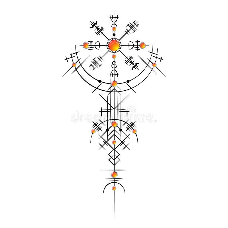 Magiczny antyczny Viking tatua? royalty ilustracja