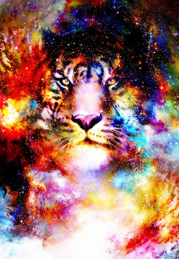 Magiczny astronautyczny tygrys, multicolor komputerowej grafiki kolaż royalty ilustracja
