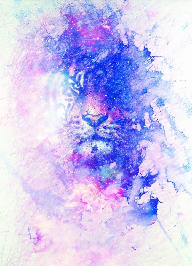 Magiczny astronautyczny tygrys, multicolor komputerowej grafiki kolaż Marmurowy skutek ilustracja wektor