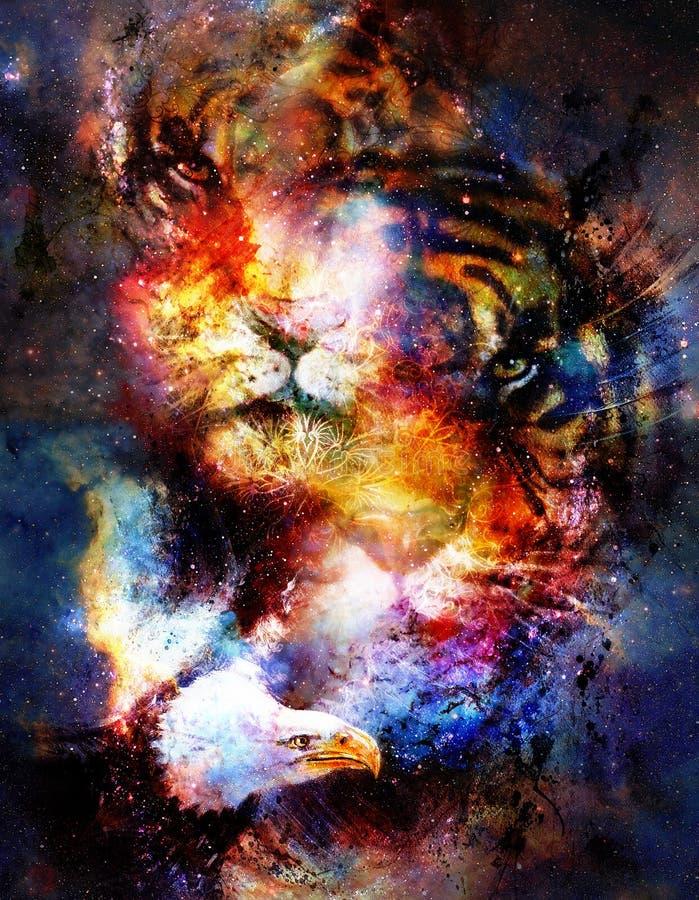 Magiczny astronautyczny tygrys, orzeł i ornament, multicolor komputerowej grafiki kolaż royalty ilustracja