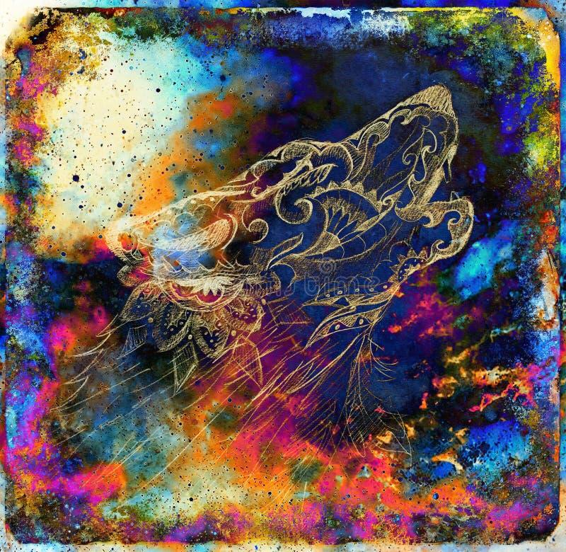 Magiczny astronautyczny wilk, multicolor komputerowej grafiki kolaż ilustracji