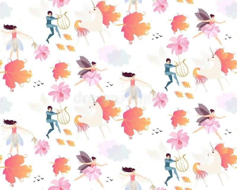 Magiczny bezszwowy deseniowy witn uskrzydlać jednorożec, jesień liście, elfy, czarodziejki, delikatni menchia kwiaty, chmury i pt ilustracja wektor