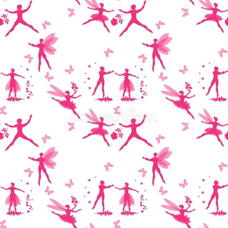 Magiczny bezszwowy wzór z różowymi sylwetkami oskrzydleni tancerze, serca, kwiaty i motyle, Czarodziejek i elfów tana balet royalty ilustracja