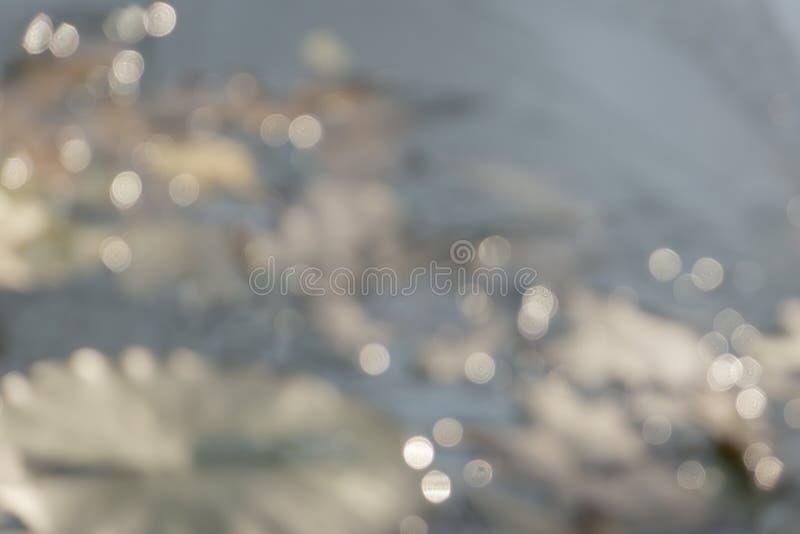 Magiczny bokeh tło Rozmyty kolorowy światło, kolor żółty, brąz, biały w miękkim błękitnym fadingu brzmieniu fotografia royalty free