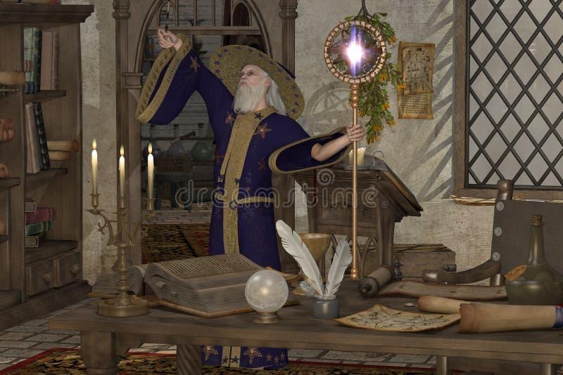 Magiczny czarnoksiężnik royalty ilustracja