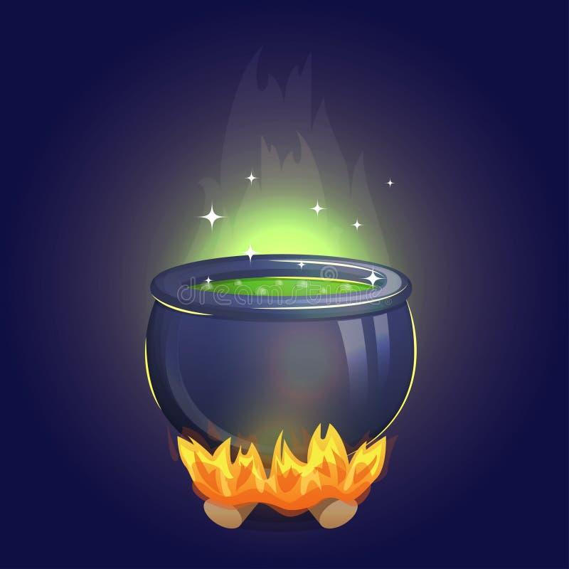 Magiczny czarownicy alchemii kocioł na ogieniu royalty ilustracja