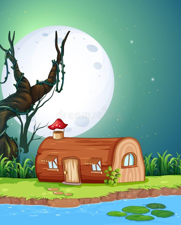 Magiczny drewniany dom przy nocą ilustracja wektor