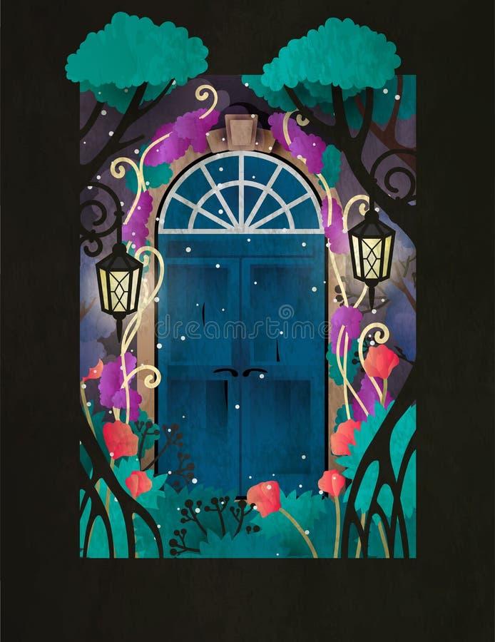 Magiczny drewniany drzwi w czarodziejskiego lasu Dwa retro projektujących drzwiach otaczających drzewami, lampami i kwiatami, royalty ilustracja