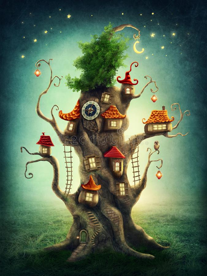 Magiczny drzewny dom ilustracji