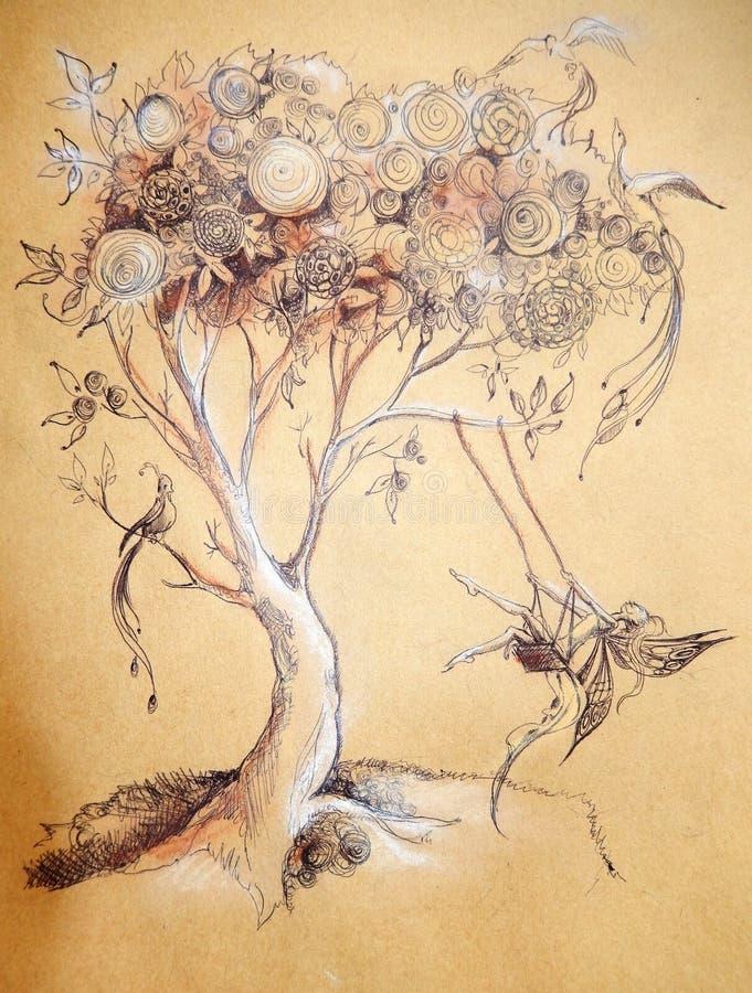 Magiczny drzewo i czarodziejka royalty ilustracja