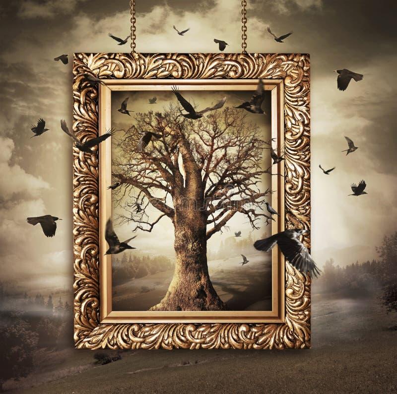 Magiczny drzewo z ptakami w ramie zdjęcie stock