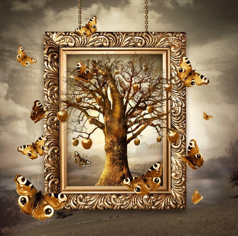 Magiczny drzewo z złotymi jabłkami i motylami w ramie. Pojęcie obrazy royalty free
