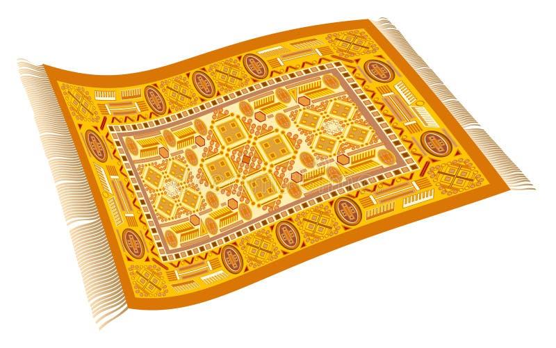 Magiczny Dywanowy Pomarańczowy kolor żółty Złoty royalty ilustracja