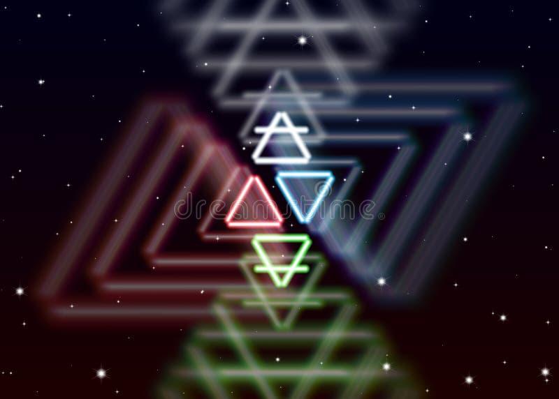 Magiczny elementu symbol rozprzestrzenia błyszczącą tajemniczą energię w sprawy duchowe przestrzeni royalty ilustracja