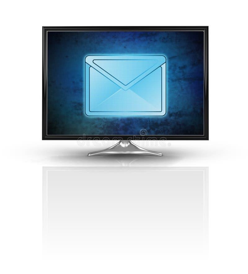 Magiczny email na błękitnym nowym nowożytnym ekranie odizolowywającym na bielu royalty ilustracja