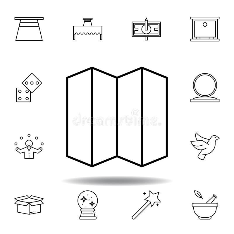 Magiczny falcowanie, oddzielacza konturu ikona elementy magiczna ilustracji linii ikona znaki, symbole mogą używać dla sieci, log royalty ilustracja