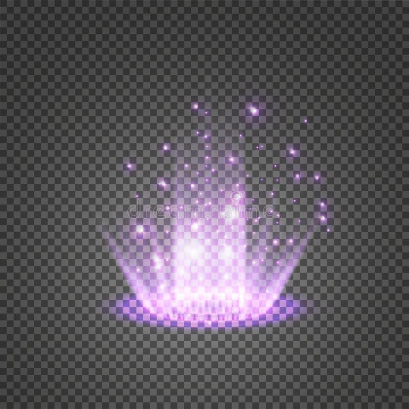 Magiczny fantazja portal Futurystyczny teleportuje Lekki skutek Błękitne świeczki promieni nocy scena z iskrami na przejrzystym obraz stock