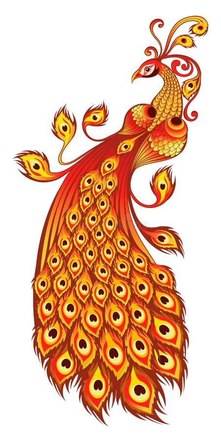 Magiczny firebird na białym tle royalty ilustracja