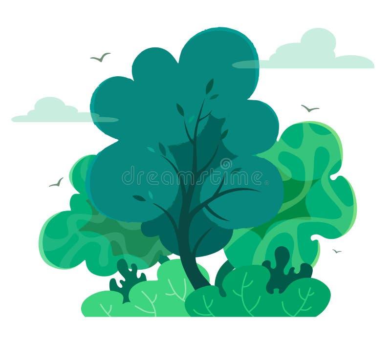 Magiczny i czarodziejski las w kresk?wka stylu z tekstur? Wektorowy drzewo odizolowywa na bia?ym tle Lasowy lub plenerowy park ilustracji