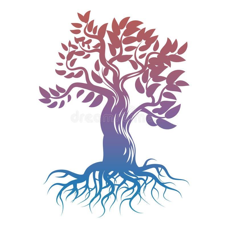 Magiczny jaskrawy drzewo z korzeniami kiedy projekt zawiera tekstury sylwetki używa drzew royalty ilustracja