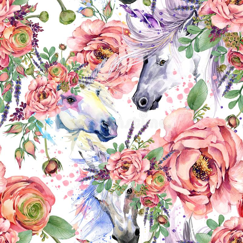 Magiczny jednorożec akwareli wzór róża kwiatów bezszwowy tło royalty ilustracja