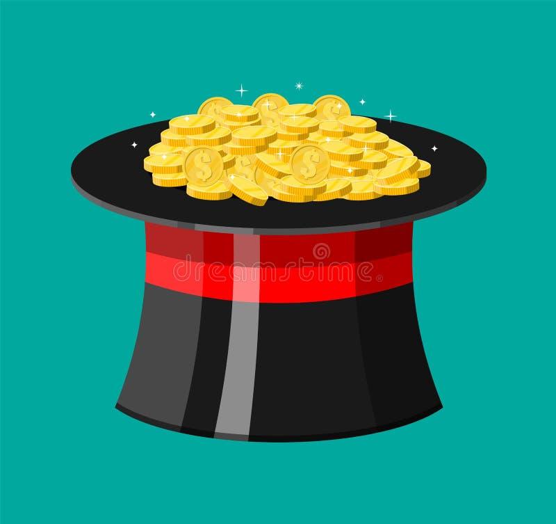 Magiczny kapelusz i złociste monety ilustracji