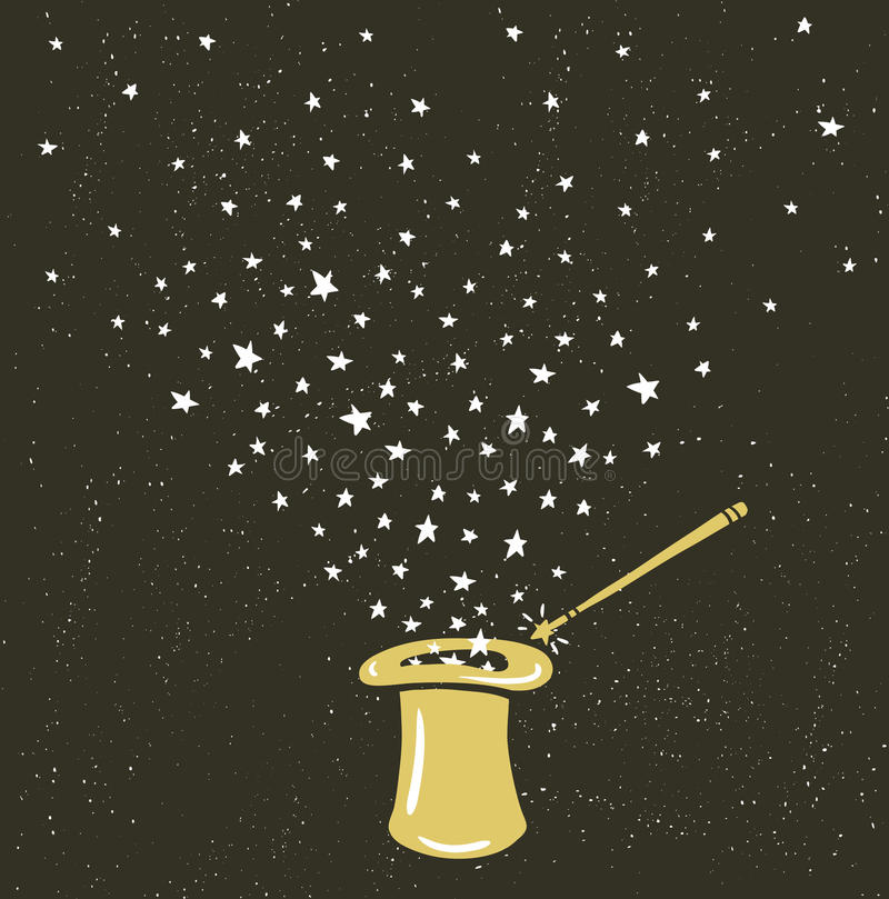 Magiczny Kapeluszowy tło z gwiazda pyłem i magii różdżką royalty ilustracja