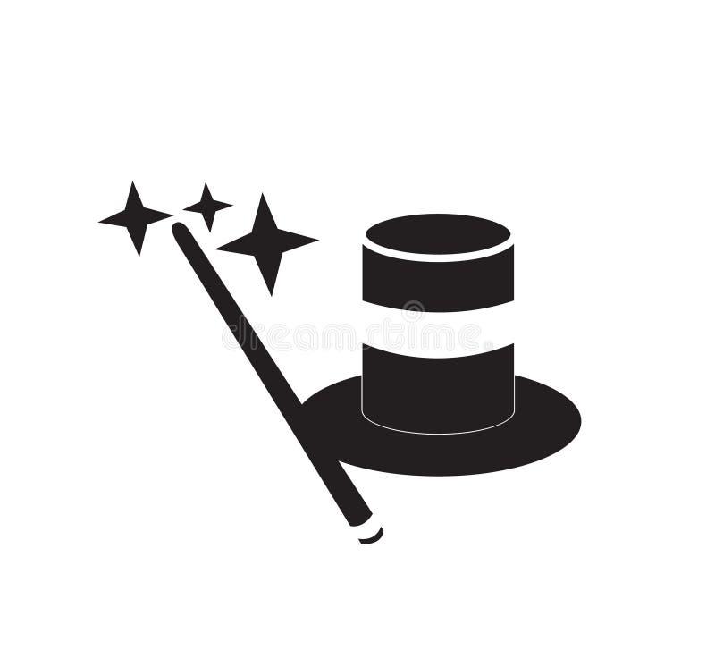 Magiczny kij z odgórnym kapeluszem ilustracja wektor