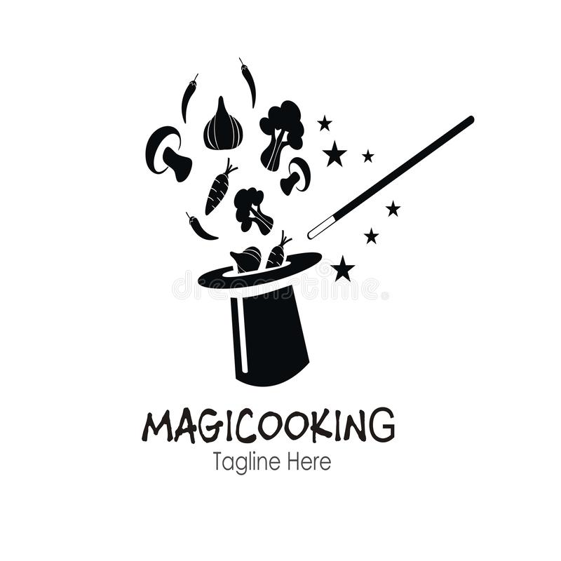 Magiczny kulinarny logo projekt ilustracji