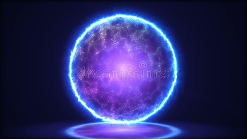Magiczny lampowy zbliżenie Energia wśrodku sfery ilustracja 3 d royalty ilustracja