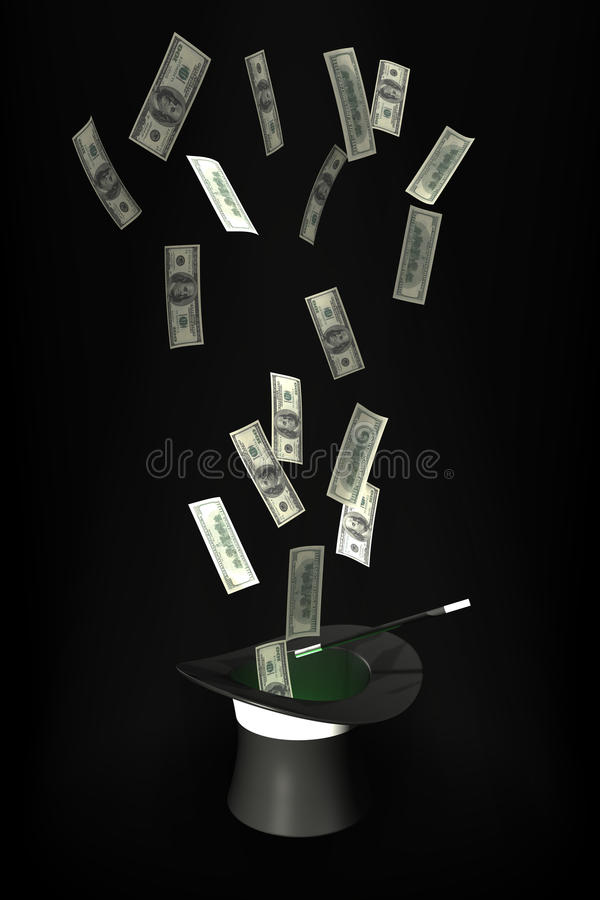Magiczny Latający Kapeluszowy Magiczny Pieniądze Zdjęcia Royalty Free