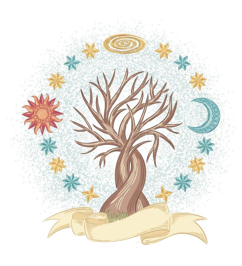 Magiczny nieba drzewo ilustracja wektor
