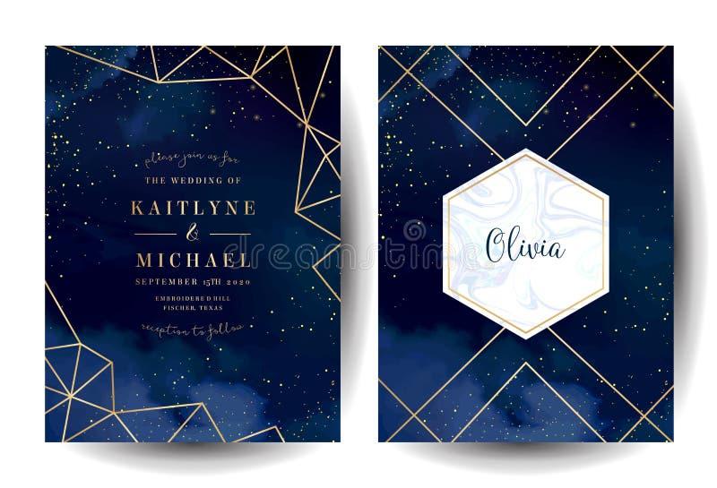 Magiczny noc zmrok - błękitne karty z lśnienie błyskotliwością i kreskową sztuką ilustracji