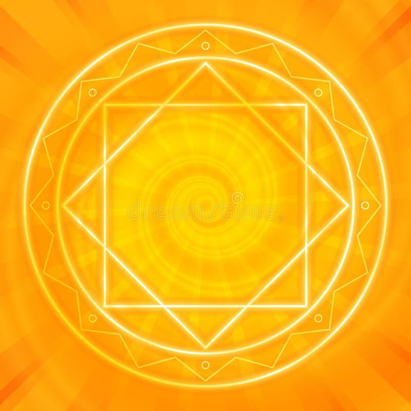 Magiczny okrąg, Święta geometria, rozjarzone neonowe linie royalty ilustracja