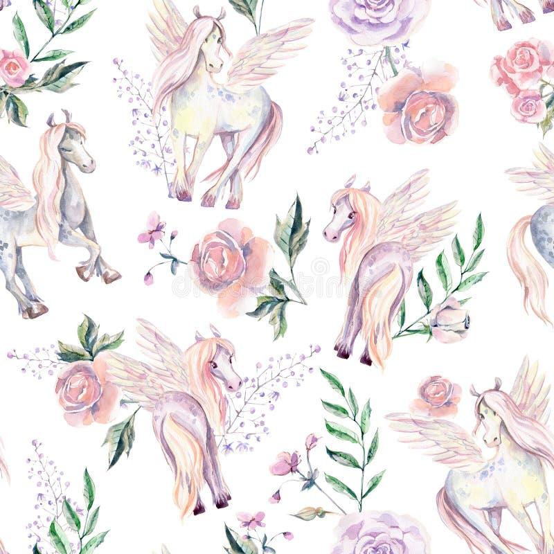 Magiczny Pegasuses w bezszwowym wzorze Akwareli ilustracja, był ilustracji