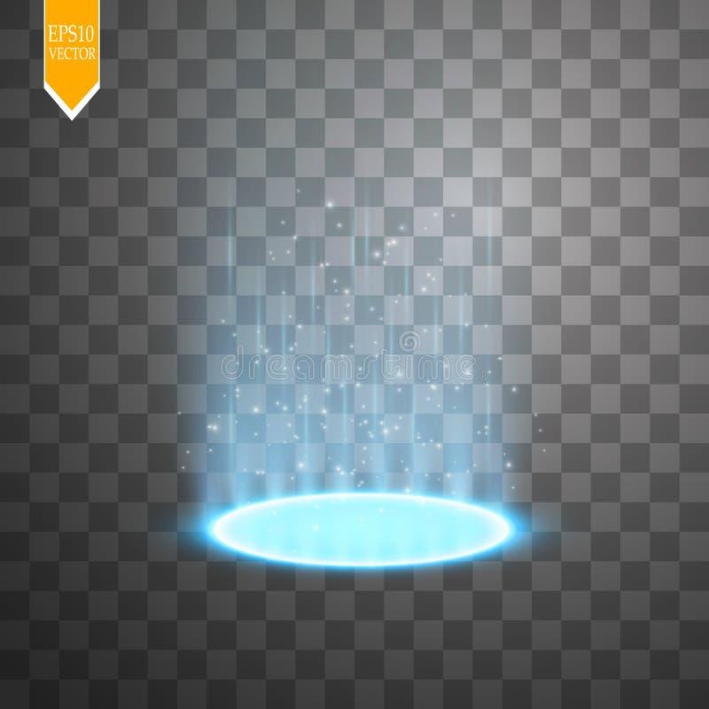 Magiczny portal fantazja Futurystyczny teleportuje Lekki skutek Lekcy promienie nocy iskry na przejrzystym i scena ilustracji