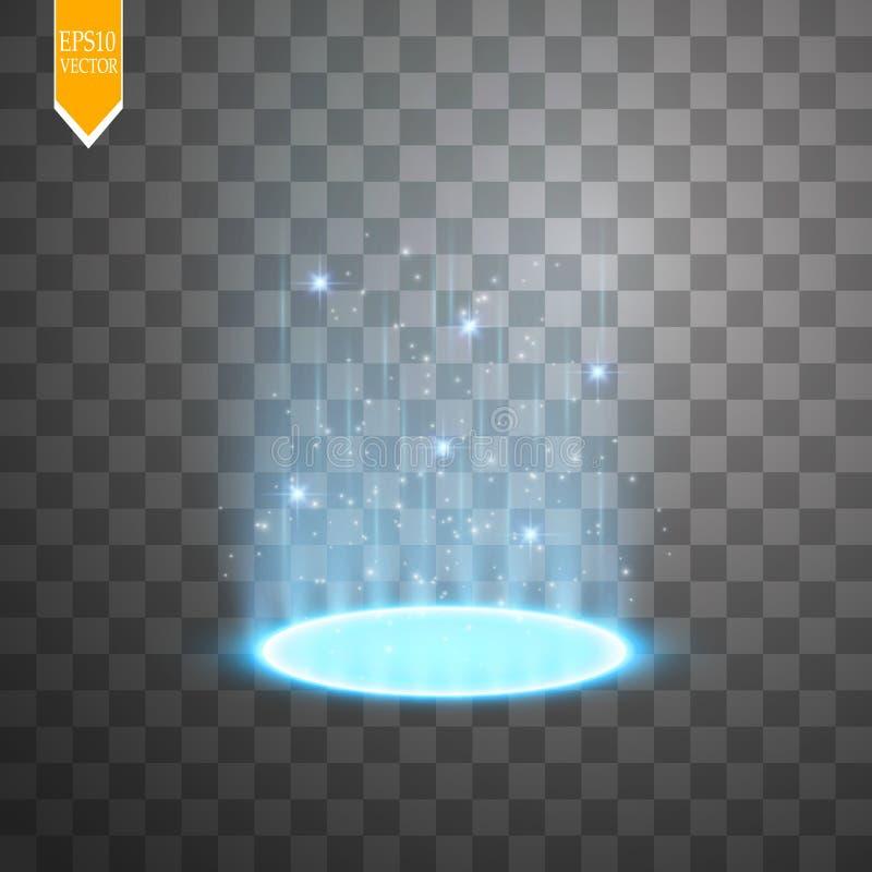Magiczny portal fantazja Futurystyczny teleportuje Lekki skutek Lekcy promienie nocy iskry na przejrzystym i scena ilustracja wektor