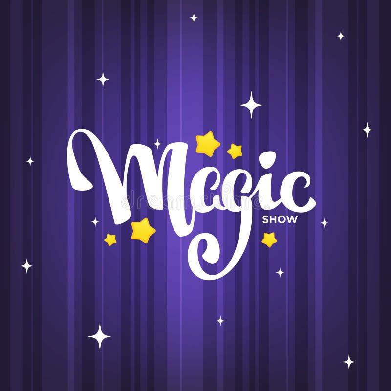 Magiczny przedstawienie, letteing skład na magicznym tle dla twój lo royalty ilustracja