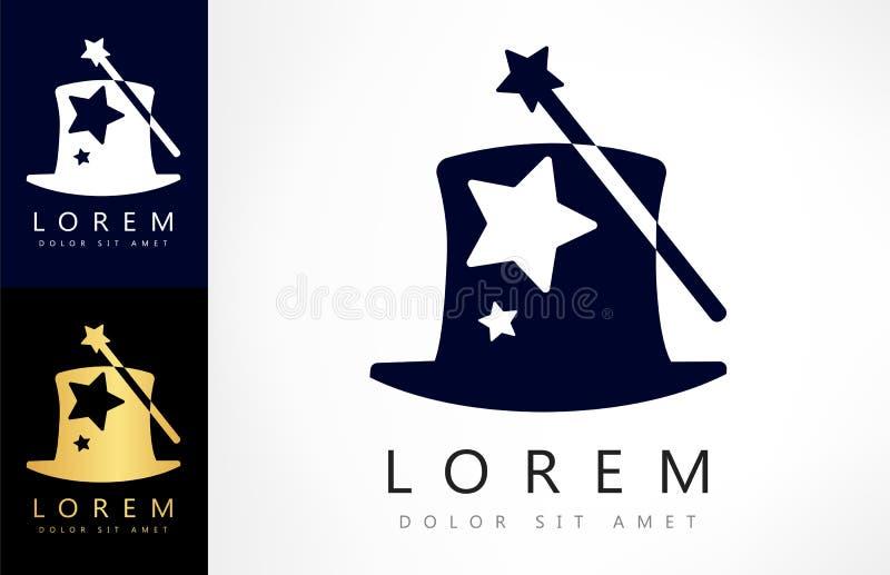 Magiczny różdżki i kapeluszu logo ilustracja wektor