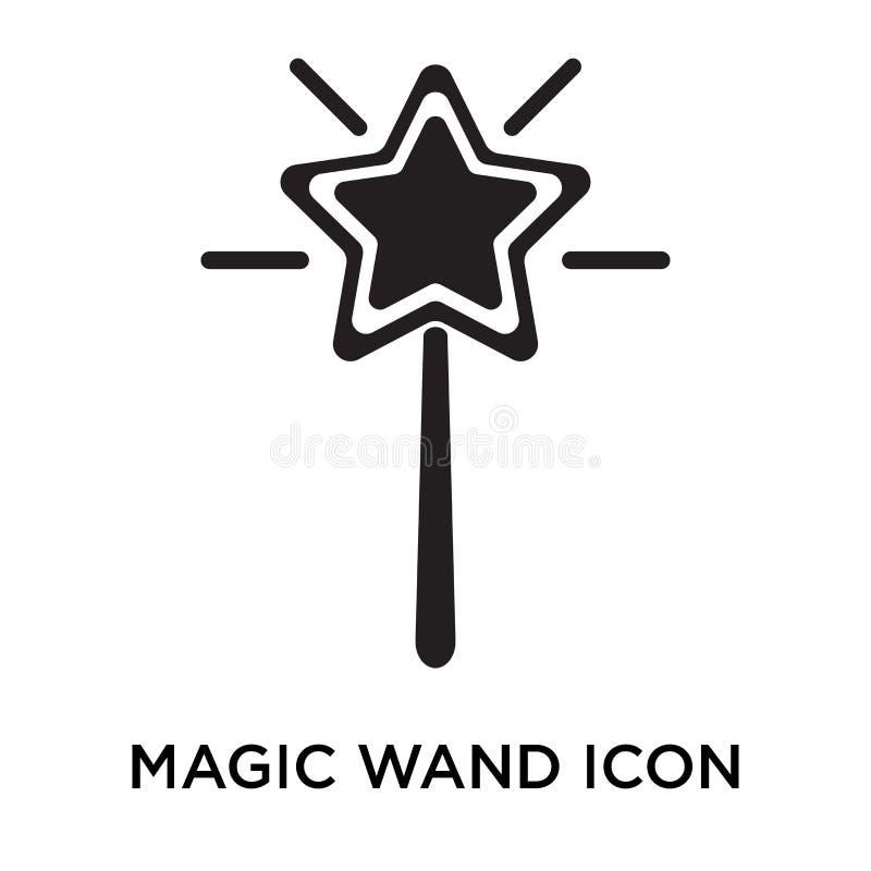 Magiczny różdżki ikony wektoru znak i symbol odizolowywający na białym backgro royalty ilustracja