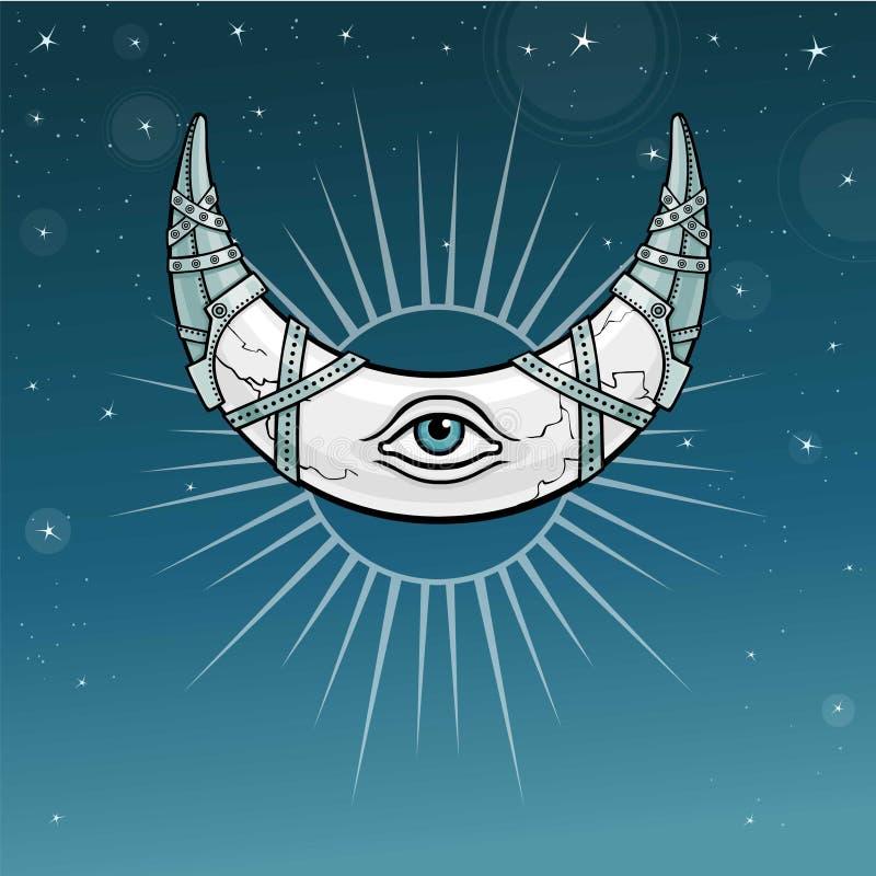 Magiczny róg półksiężyc, księżyc w metalu opancerzeniu royalty ilustracja